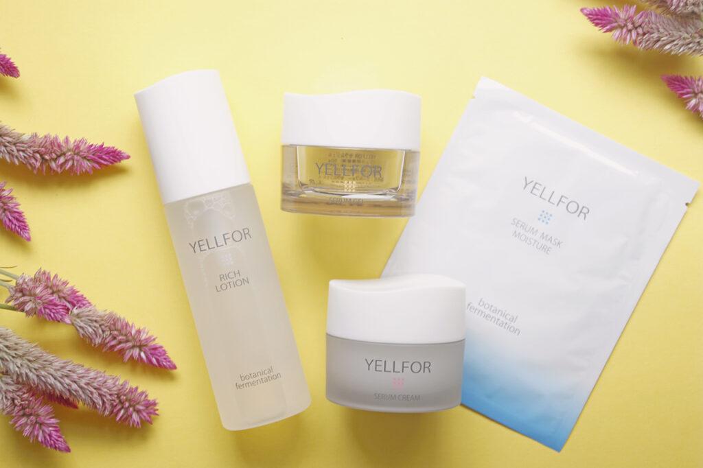 YELLFORの化粧水、セラム、シートマスク
